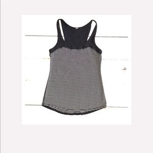 Lululemon black/white Striped Racerback size 4/6
